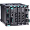 Layer 2 full Gigabit modular managed Ethernet switch with 4 fixed Gigabit ports, 2 slots for optional 4-port GE/FE modules, 2 slots for isolated power modules, up to 12 Gigabit ports, -10 to 60�C operating temperatureMOXA