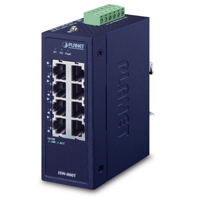 ISW-800T | Industrial 8-Port 10/100TX Compact Ethernet Switch (-40~75 degrees C operating temperature)