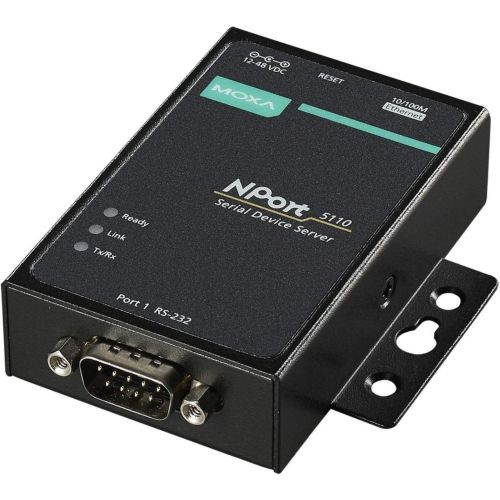 NPort 5110 | 1 port device server, 10/100M Ethernet, RS-232, DB9 male, 15KV ESD, 9-30VDC With adapter 220/110 V to 12V